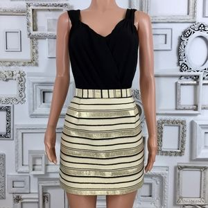 J. Crew | Gold Metallic Stripe Skirt 10